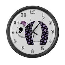 Purple Panda Large Wall Clock