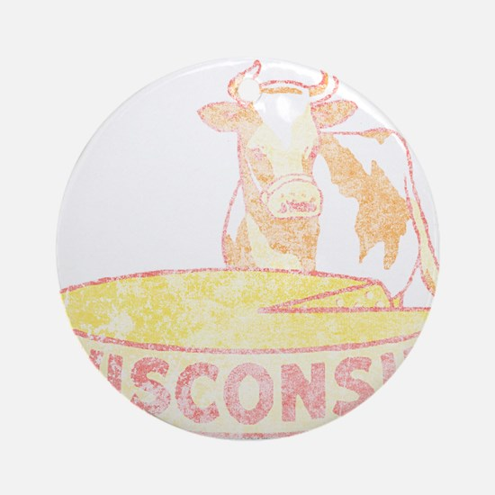 Faded Vintage Wisconsin Cheese Ornament (Round)