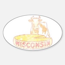 Faded Vintage Wisconsin Cheese Sticker (Oval)