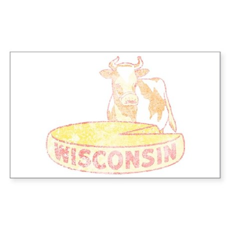Faded Vintage Wisconsin Cheese Sticker (Rectangle)