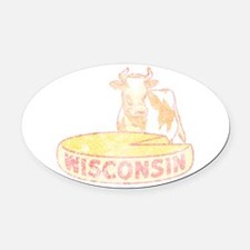 Faded Vintage Wisconsin Cheese Oval Car Magnet