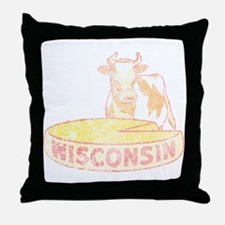 Faded Vintage Wisconsin Cheese Throw Pillow