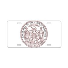 Vintage Wisconsin State Seal Aluminum License Plat