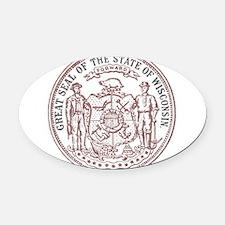 Vintage Wisconsin State Seal Oval Car Magnet
