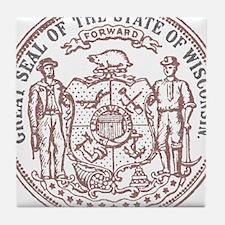 Vintage Wisconsin State Seal Tile Coaster