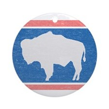 Wyoming State Flag Ornament (Round)