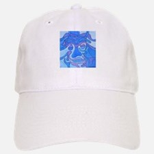 Blue Abstract Face Baseball Baseball Cap