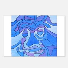 Blue Abstract Face Postcards (Package of 8)
