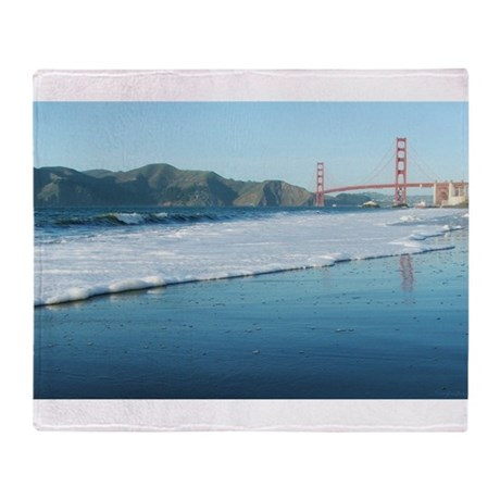 Golden Gate Bridge Sudsy Shoreline Throw Blanket