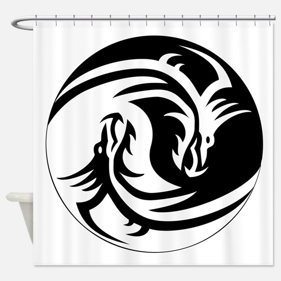 Black And White Yin Yang Dragons Shower Curtain