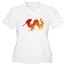 Red and Orange Dragon Plus Size T-Shirt