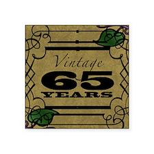 "Vintage 65th Birthday (Gold) Square Sticker 3"" x 3"