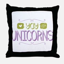 Yay for Unicorns Throw Pillow