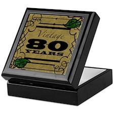 Vintage 80th Birthday (Gold) Keepsake Box