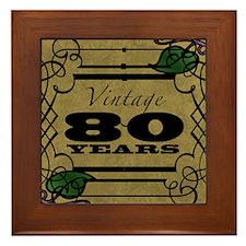 Vintage 80th Birthday (Gold) Framed Tile