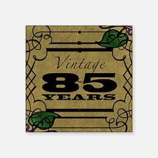 "Vintage 85th Birthday (Gold) Square Sticker 3"" x 3"