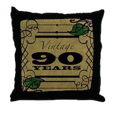 Vintage 90th Birthday (Gold) Throw Pillow