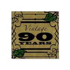 "Vintage 90th Birthday (Gold) Square Sticker 3"" x 3"