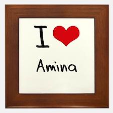 I Love Amina Framed Tile