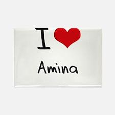 I Love Amina Rectangle Magnet