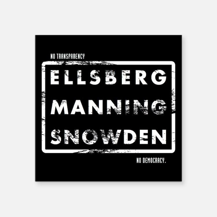 """Ellsberg Manning Snowden Square Sticker 3"""" x 3"""""""