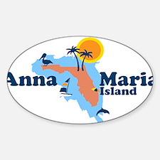 Anna Maria Island - Map Design. Sticker (Oval)