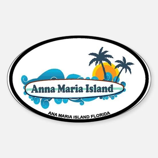Anna Maria Island - Surf Design. Sticker (Oval)