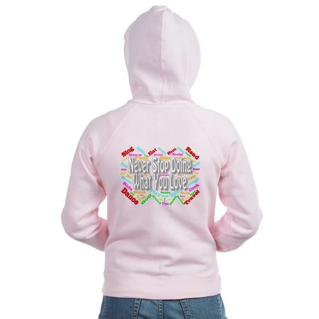 Never Stop Women's Zipped Hoodie Back Design
