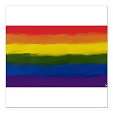 "gay pride rainbow art Square Car Magnet 3"" x 3"""
