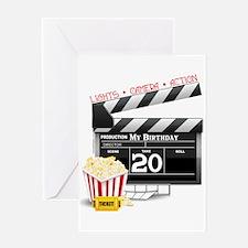20th Birthday Hollywood Theme Greeting Card