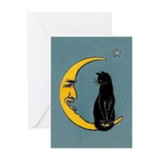 Black Cat, Moon, Vintage Poster Greeting Card