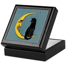 Black Cat, Moon, Vintage Poster Keepsake Box