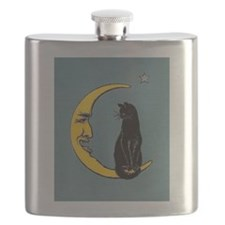 Black Cat, Moon, Vintage Poster Flask