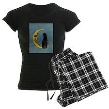 Black Cat, Moon, Vintage Poster Pajamas