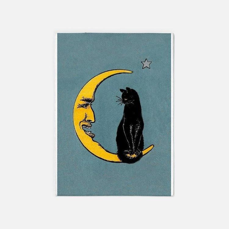 Black Cat, Moon, Vintage Poster 5'x7'Area Rug