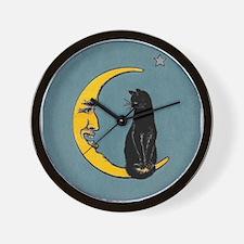 Black Cat, Moon, Vintage Poster Wall Clock