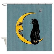 Black Cat, Moon, Vintage Poster Shower Curtain
