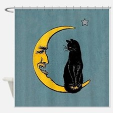 Black Cat, Moon, Vintage Poster Shower Curtain