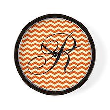 R Personalized Orange and Ivory Zig zag Wall Clock