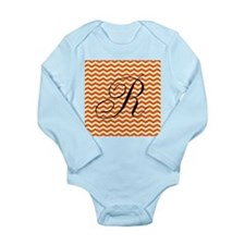 R Personalized Orange and Ivory Zig zag Body Suit