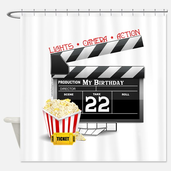 22nd Birthday Hollywood Theme Shower Curtain