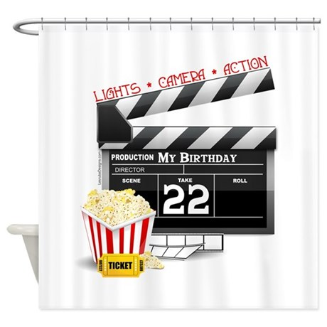 22nd Birthday Hollywood Theme Shower Curtain