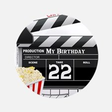 "22nd Birthday Hollywood Theme 3.5"" Button"