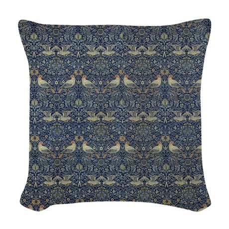 Woven Blue Throw Pillow : Morris Blue Pattern with Birds Woven Throw Pillow by FineArtDesigns