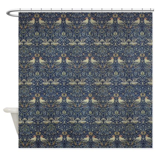 Morris Blue Pattern With Birds Shower Curtain By