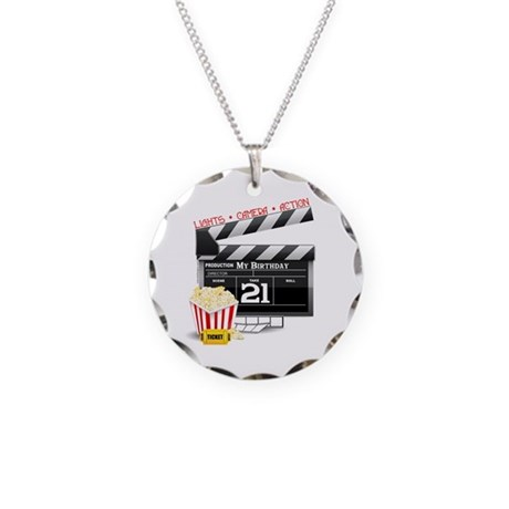 21st Movie Birthday Necklace Circle Charm