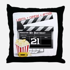 21st Movie Birthday Throw Pillow