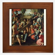 Christ Falling on the Way to Calvary Framed Tile