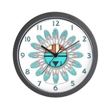 Hopi Style Sun Face Wall Clock