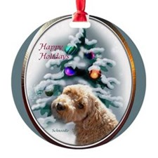 Schnoodle Christmas Round Ornament